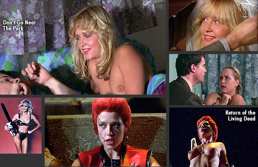 Linnea Quigley in Don't Go Near The Park (1981) and Return of the Living Dead (1985)