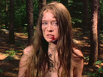 Jennifer Hills (played by Camille Keaton), having been attacked by four men